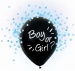 Balony na Gender Reveal Party, Boy or Girl, niebieskie konfetti