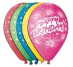 "Balony Premium 12"" Happy Birthday i fajerwerki, 5 szt."
