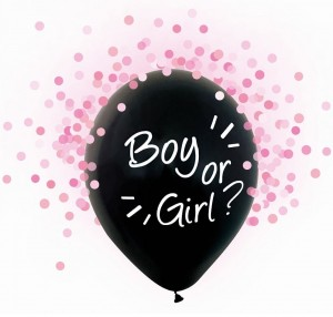 Balony na Gender Reveal Party, Boy or Girl, różowe konfetti