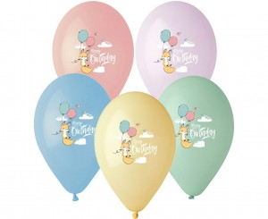 Balony Happy Birthday Lisek, 5 szt.
