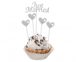Pikery Just Married, srebrne brokatowe, 5 szt.