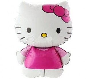 "Balon foliowy 24"" Hello Kitty z kokardką"