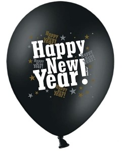 "Balon 14"" czarny pastel, Happy New Year"